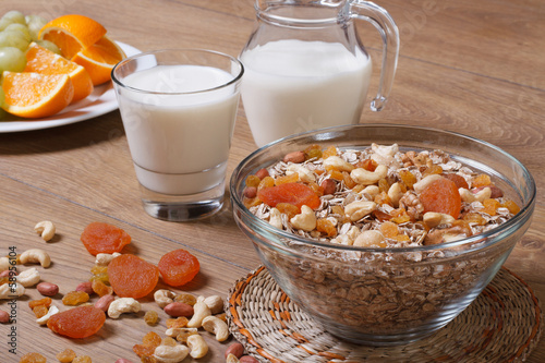 Cereal with raisins, nuts and dried apricots and milk.