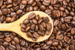 Wooden Spoon With Coffee Beans Close Up