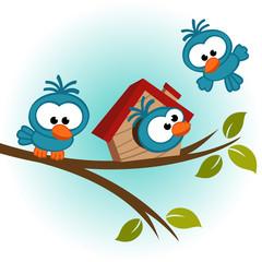 bird on tree - vector illustration