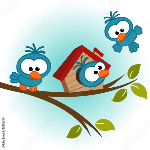 bird on tree - vector illustration