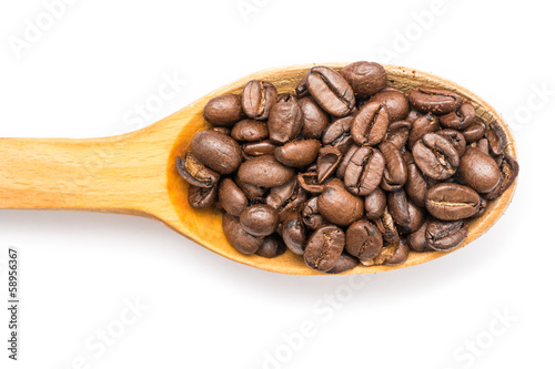 Wooden Spoon With Coffee Beans On White Background
