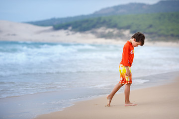 Six years old boy on exotic beach