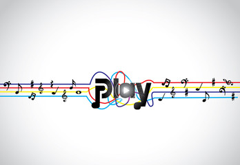 Trendy Music play icon symbol with colorful tones and notes art