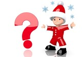 question symbol presented by mini santa claus