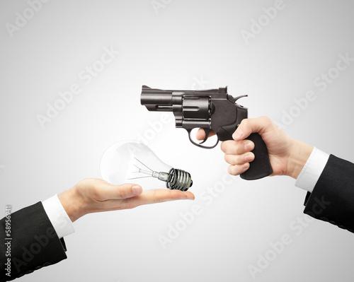 gun and bulb