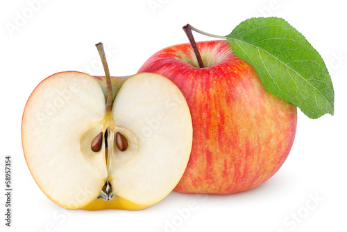 Red yellow apple with green leaf and half isolated on white