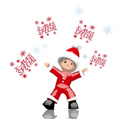 mini santa claus juggles christmas special symbol