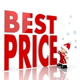 mini santa claus with giant best price sign