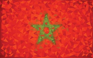Flag Morocco grunge mosaic geometric triangle vector.