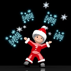 santa claus juggles glaring christmas special label