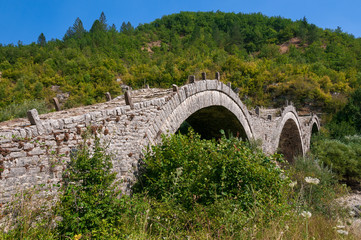 Old  triple arched stone bridge on Vikos gorge, Zagorohoria