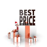 santa claus with gift and best price symbol