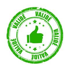 badge vert pouce en l'air - validé