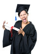 Graduating student in academic black gown and square cap