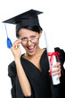 Graduating student in spectacles with the diploma