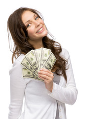 Half-length portrait of happy woman handing cash, isolated