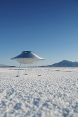 Silver Metal Flying Saucer UFO Harsh White Desert Planet