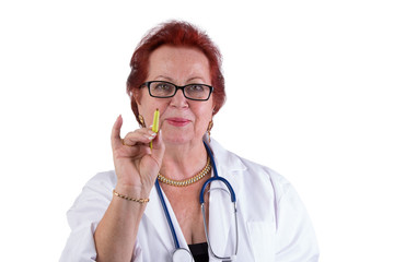 Older Doctor Making a Point with Genuine Friendly Look