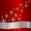 Vector Red Plate with Snowflakes and White Ribbon
