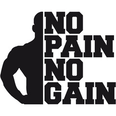 No Pain No Gain Bodybuilding Logo Design