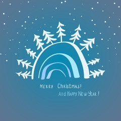 elegant christmas card with trees and snow