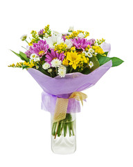 Colorful bouquet from gerbera flowers in glass vase