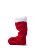red Christmas stocking standing on white background