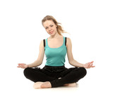 Young woman in advanced sitting yoga pose, isolated on white bac