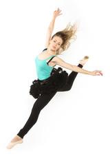 modern dancer woman poses  studio on white background