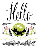 Hello postcard cover design. Happy fox and forest herbs, arrows