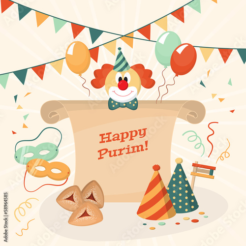 Greeting card for Jewish holiday Purim