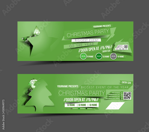 Christmas Party Green Web Banner Template