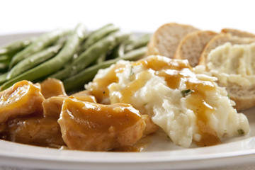 Turkey and Gravy Dinner with Mashed Potatoes, Green Beans