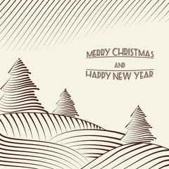 Engraving of Christmas trees on the hills.