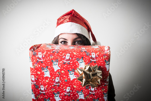 christmas businesswoman with gift