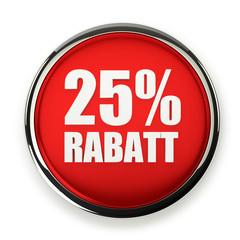 Roter 25 Prozent Rabatt Button mit Metallrand