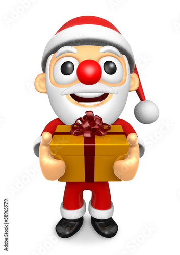The 3D Santa Mascot holding a big Gift Box. 3D Christmas Charact