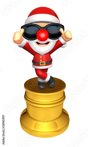 3D Santa character trophy of the Best Gesture. 3D Christmas Char
