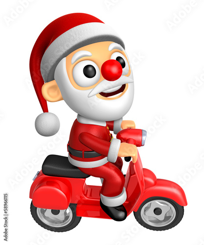 3D Santa character the Right motorbike driving. 3D Christmas Cha