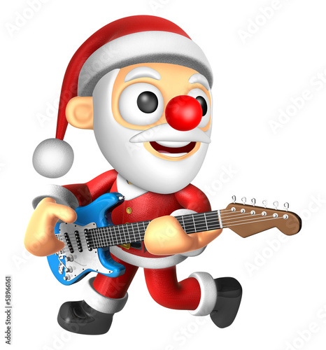 3D Santa has to be playing the electric guitar. 3D Christmas Cha