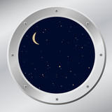 Sky in porthole in vector