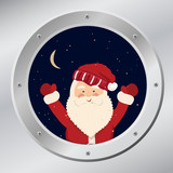 Santa Claus in porthole in vector