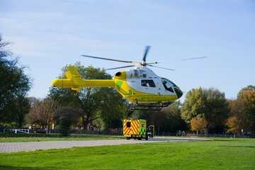 Ambulance helicopter in the air