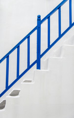 Blue handrail with white wall1