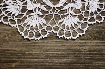 Crochet lace on wood