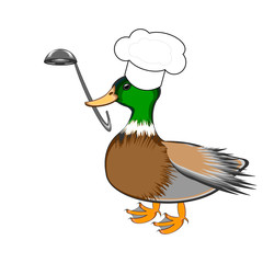 A funny duck with a chef hat and a soup ladle in its beak