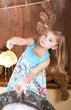 little girl erases bears indoors
