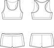 Vector illustration of women's sport underwear. Bra and shorts - 58970347