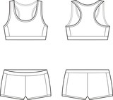 Vector illustration of women's sport underwear. Bra and shorts