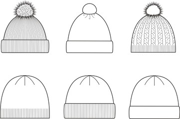 Vector illustration of winter caps. Knitwear
